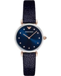 Emporio Armani - Ar1989 Stainless Steel And Leather Watch - Lyst