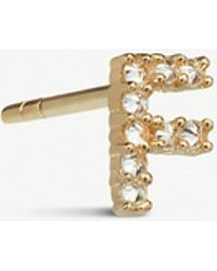 Annoushka - Yellow Gold And Diamond Initial F Single Stud Earring - Lyst