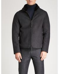 Emporio Armani - Funnel-neck Shearling Jacket - Lyst
