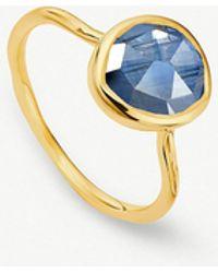 Monica Vinader - Siren 18ct Gold Vermeil And Kyanite Stacking Ring - Lyst