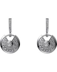 Cartier - Amulette De 18ct White Gold And Diamond Earrings - Lyst
