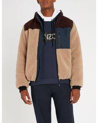 KENZO - Panelled Shearling Jacket - Lyst