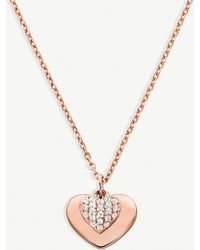 Michael Kors - Heart Rose Gold-plated Sterling Silver Necklace - Lyst