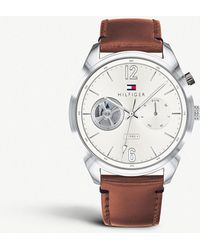 Tommy Hilfiger - 1791550 Descon Stainless Steel And Leather Chronograph Watch - Lyst