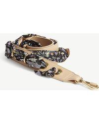 Chloé - Black Floral Silk Scarf Leather Bag Strap - Lyst