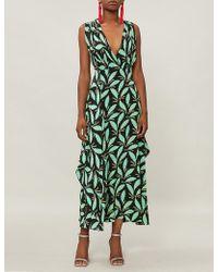 Diane von Furstenberg - Leaf-print Silk Midi Dress - Lyst