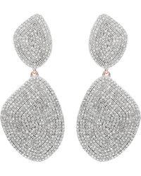 Monica Vinader - Nura Double Teardrop 18ct Rose-gold And Diamond Earrings - Lyst