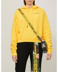 Off-White c/o Virgil Abloh - Quotes Cropped Cotton-jersey Hoody - Lyst