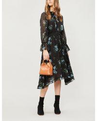 Claudie Pierlot - Romilly Floral-print Ruffle-trim Chiffon Dress - Lyst