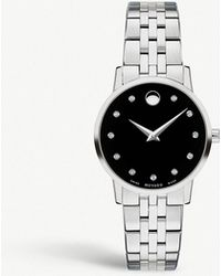 Movado - Museum Classic Stainless Steel And Diamond Watch - Lyst