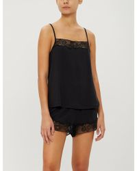 Calvin Klein - Ck Black Jersey And Lace Camisole - Lyst
