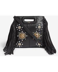 Maje - The M Studded Mini Leather Cross-body Bag - Lyst