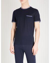 Ralph Lauren Purple Label - Striped-trim Cotton-piqué T-shirt - Lyst
