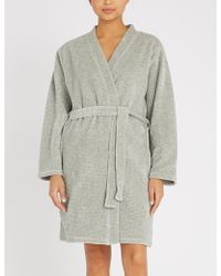 Calvin Klein - Ribbed Velour Dressing Gown - Lyst