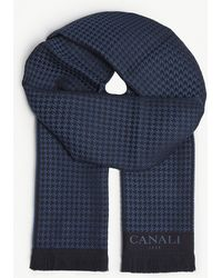Canali - Logo Herringbone Knitted Wool Scarf - Lyst