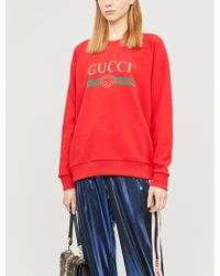 16972e2f1 Gucci Manga-print Cotton-jersey Sweatshirt in Red - Lyst