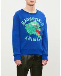 796c7a98608 Gucci Azzure Patch Zip-up Sweatshirt in Blue for Men - Lyst
