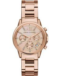 Armani Exchange - Rose Gold Bracelet Watch - Lyst