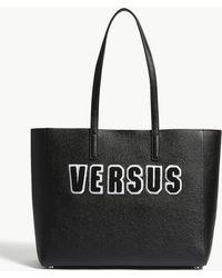 Versus - Black Flocked Logo Grained Leather Tote Bag - Lyst