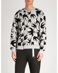 McQ - Swallow-flocked Cotton-jersey Sweatshirt - Lyst
