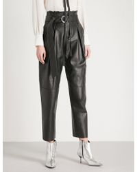 Mo&co. - Paper Bag-waist Straight Leather Trousers - Lyst