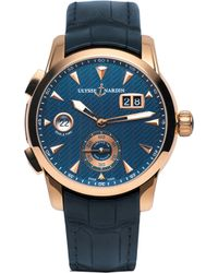 Ulysse Nardin - 3346-126le/93 Classic Dual Time 18ct Rose Gold And Leather Watch - Lyst