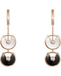 Cartier - Amulette De 18ct Pink-gold And Diamond Earrings - Lyst