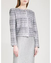 St. John - Ribbon-knit Metallic-tweed Jacket - Lyst