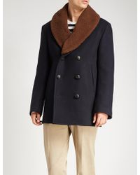 Brioni - Shearling Collar Cashmere Coat - Lyst