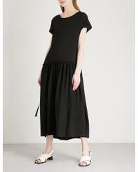 Limi Feu - Lace-up Detail Cotton-jersey Twill Dress - Lyst