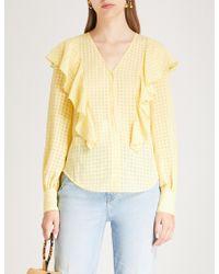 Kitri - Akane Ruffled Crepe Shirt - Lyst