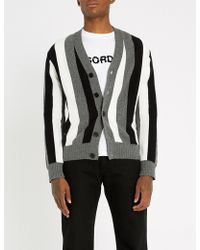 Sandro - Striped Wool-and-cashmere Blend Cardigan - Lyst