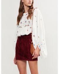 Free People - High-rise Velvet Mini Skirt - Lyst