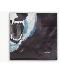 HUGO - Wolf Print Silk Pocket Square - Lyst