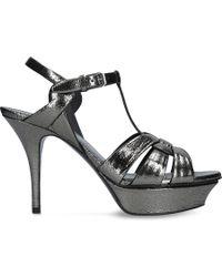 Saint Laurent | Tribute 75 Patent-leather Heeled Sandals | Lyst