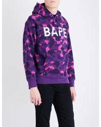 A Bathing Ape - Camouflage Ape-print Cotton-jersey Hoody - Lyst