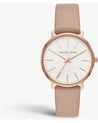 6d819656ce4c Michael Kors - Mk2748 Pyper Rose-gold Stainless Steel And Leather Watch -  Lyst