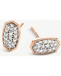 Kendra Scott - Gypsy 14ct Rose-gold And Pavé Diamond Earrings - Lyst