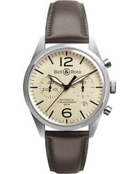 Bell & Ross - Vintage Original Satin Steel And Leather Chronograph Watch - Lyst
