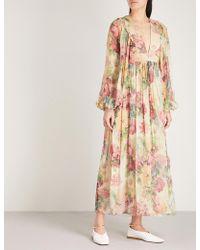 Zimmermann - Melody Floral-print Silk-chiffon Dress - Lyst