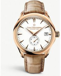 Carl F. Bucherer - 00.10921.03.23.01 Manero 18ct Rose-gold And Leather Strap Watch - Lyst