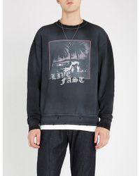 The Kooples - Distressed Printed Cotton-jersey Sweatshirt - Lyst