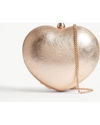 MICHAEL Michael Kors - Pearl Heart Metallic Leather Box Clutch - Lyst
