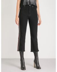 Alexander McQueen - Contrast-piped Straight High-rise Jeans - Lyst