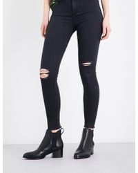 Rag & Bone - Ladies Black Distressed Skinny High-rise Jeans - Lyst