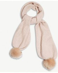 The White Company - Wool-blend Ribbed Pom-pom Scarf - Lyst