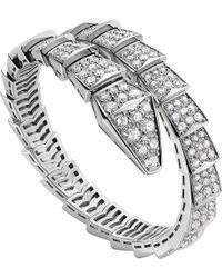 BVLGARI - Serpenti 18ct White-gold And Diamond Bracelet - For Women - Lyst