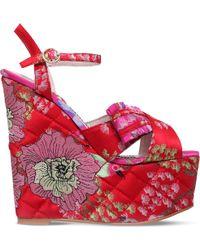 KG by Kurt Geiger | Halo Embroidered Platform Wedge Sandals | Lyst