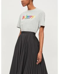 Burberry - Rainbow Logo-embroidered Cotton-jersey T-shirt - Lyst