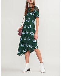 Maje - Rowers Asymmetric Floral-print Midi Dress - Lyst